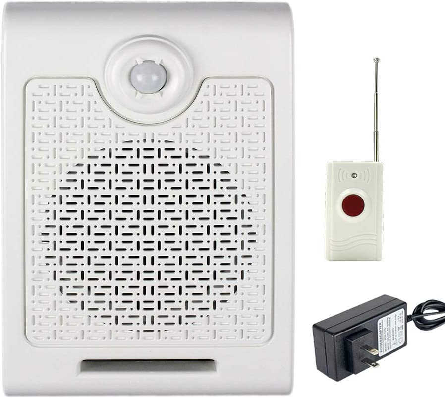 Wall Mount High Power PIR Motion Sensor Button Activated Voice Recordable Sound Amplifier Speaker with Remote Control for Safety Voice Attention