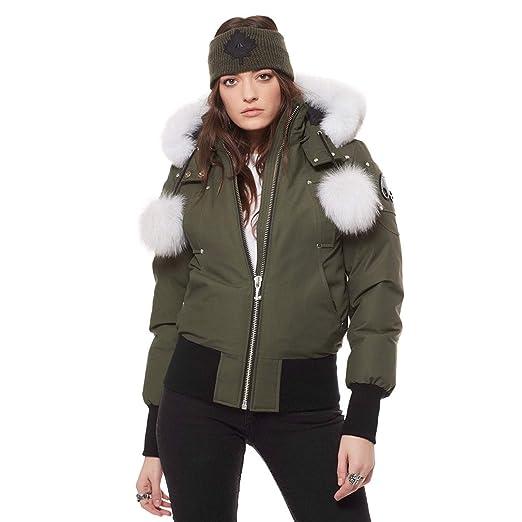 323bf5a32 Amazon.com: Moose Knuckles Debbie Bomber Down Jacket with Fur Pom ...