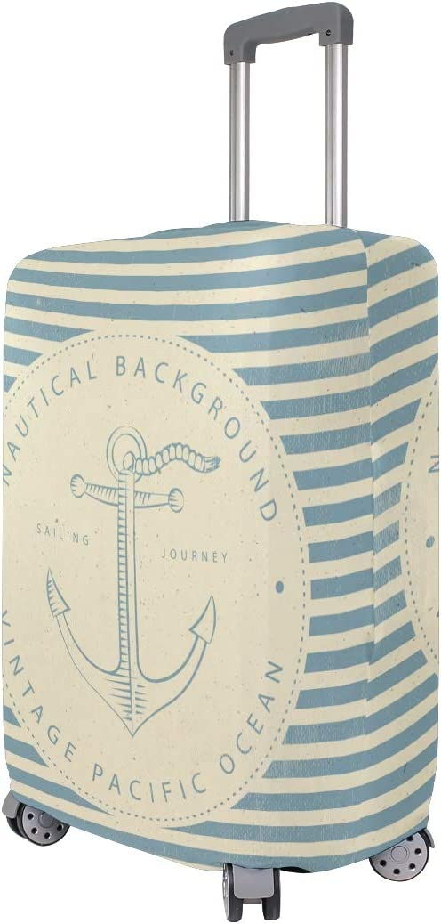 Cute 3D Nautical Vintage Striped Anchor Pattern Luggage Protector Travel Luggage Cover Trolley Case Protective Cover Fits 18-32 Inch