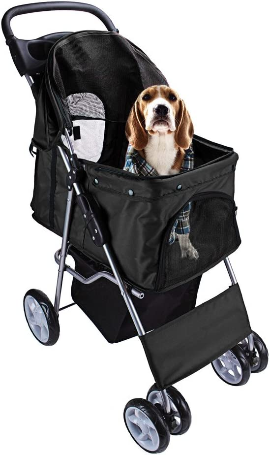 DISPLAY4TOP Carrito de 4 Ruedas para Mascotas Perros Gatos Animales Plegable Impermeable para Viaje Paseo (negro)