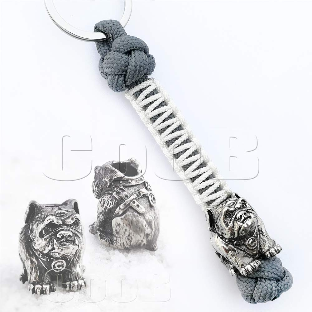 EDC Survival Paracord Lanyard Keychain Strap Key with Hand Casted Bead Beads Charms Animals Collection for Knife, Flashlight, Camera - US Military Grade Type III 550 Lb Cord (Bulldog NS)