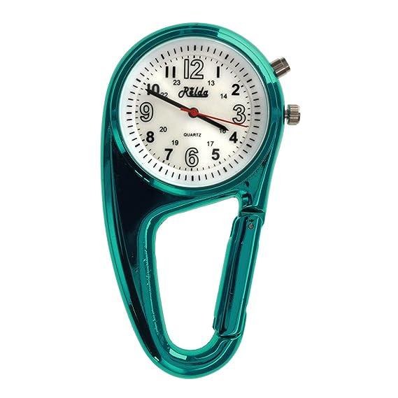 Reloj para solapa con mosquetón Relda REL113, unisex, con luz, ideal para médicos y enfermeras: Amazon.es: Relojes
