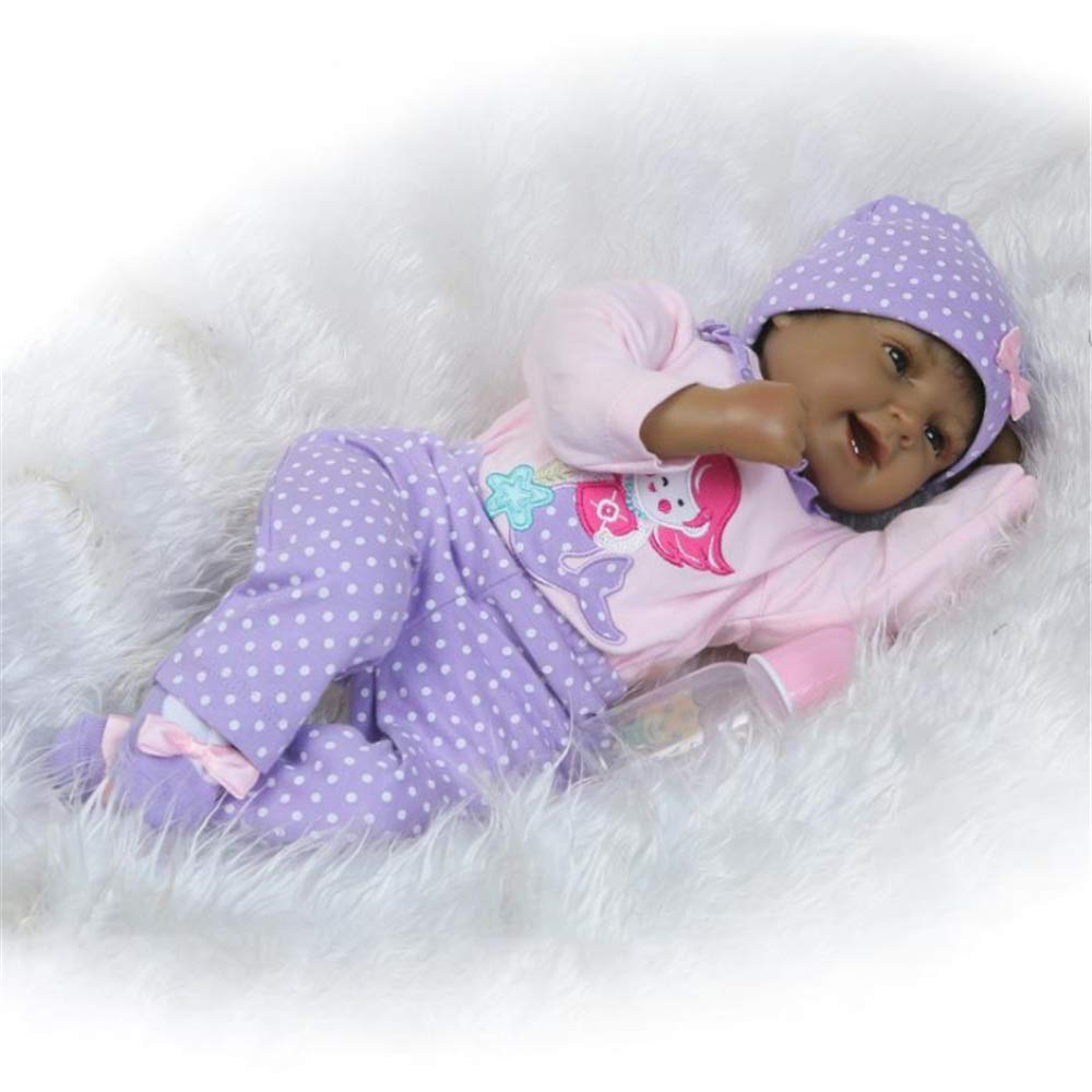 Kids Beach Toys Cute Black Baby Doll Rewborn Nursery Alive Doll Realistic Pretend Role Play Kids Toys Cute Newborn Baby Girl Doll Lifelike With Clothes Hat Feeding Toys Milk Bottle Baby Toddlers Infan by Zhao Xiemao (Image #4)