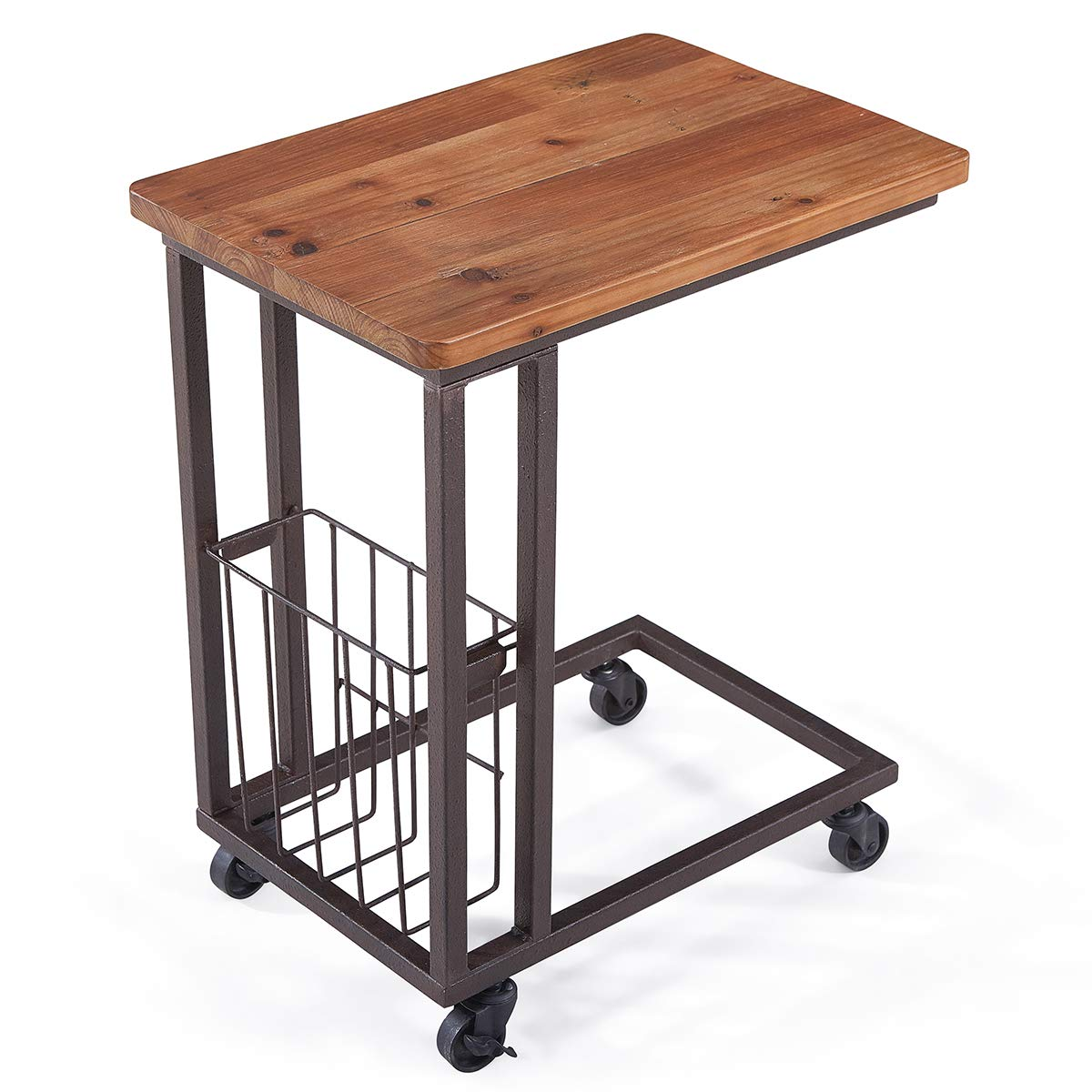 Care Royal Vintage Mobile Snack End Side C Table with Storage Basket for Coffee Laptop Tablet, Slide under Sofa Couch Bed, Rolling Casters with Brakes, Natural Solid Reclaimed Wood, Rustic Brown Metal by Care Royal