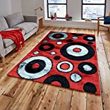 Gloria Rug Super Soft Indoor Modern Shag Rug Silky Smooth Rugs Fluffy Shaggy Area Rug – Stain Resistant Dining Room Home Bedroom Living Room Carpet (5 x 7, Red Gray Circle Design 1022)