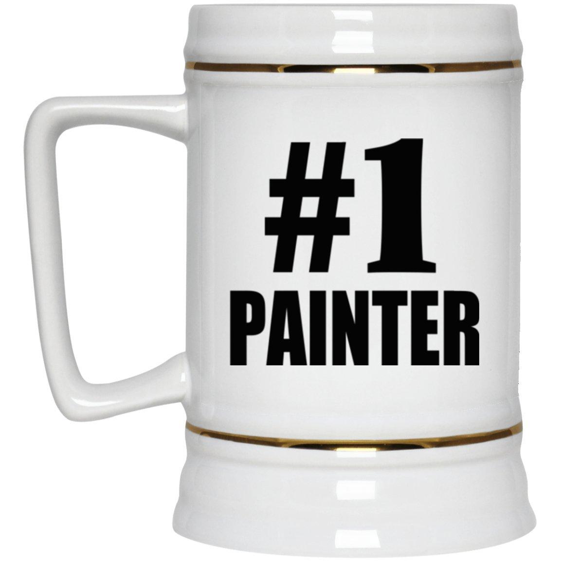 Number One #1 Painter - Beer Stein Ceramic Beer Tankard Bar Mug Handle Best Gift for Birthday, Wedding Anniversary, New Year, Valentine's Day, Easter, Mother's/Father's Day Valentine's Day Designsify