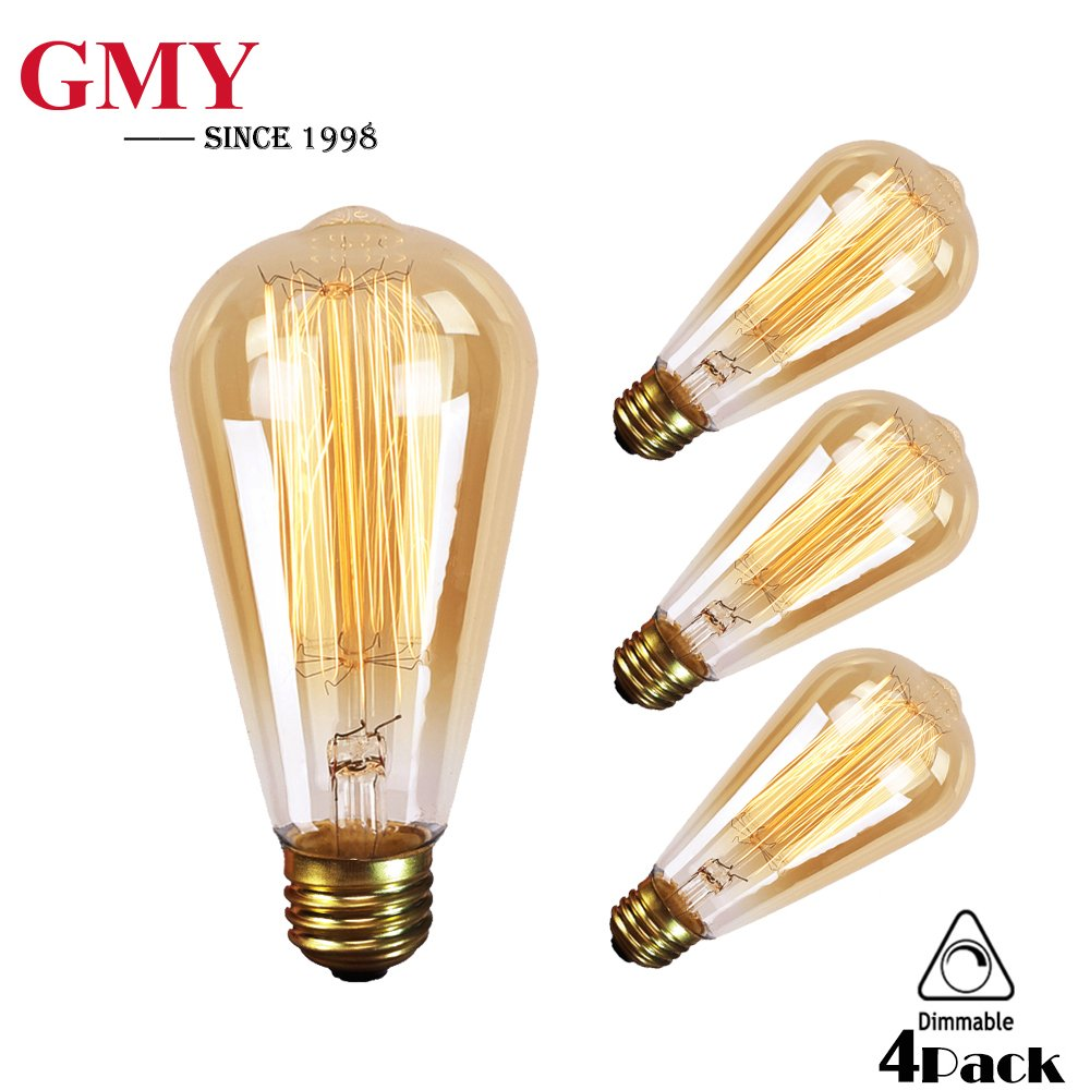 GMY Lighting Vintage Edison Bulb Dimmable ST64 60 Watt Teardrop Classic Squirrel Cage Tungsten Light E26 2200K (4 Pack)