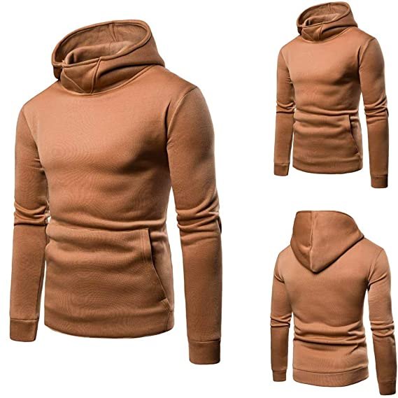 YOYOGO Hombre Ropa Interior Sexy❤Mens Pure Color Zipper Pullover Long Sleeve Hooded Sweatshirt Tops Blouse: Amazon.es: Ropa y accesorios