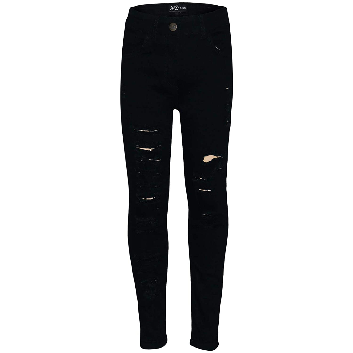 A2Z 4 Kids Kids Girls Stretchy Black Denim Jeans Designers Ripped Faded Fashion Jeggings Skinny Frayed Pants Stylish Trousers New Age 5 6 7 8 9 10 11 12 13 Years