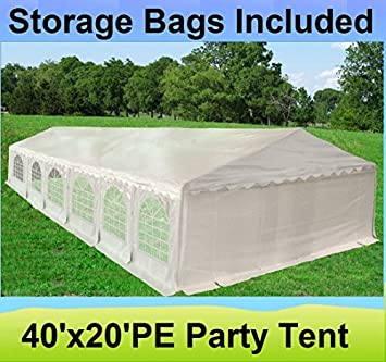 40u0027x20u0027 PE Party Tent White - Heavy Duty Wedding Canopy Carport Shelter -  sc 1 st  Amazon.com & Amazon.com: 40u0027x20u0027 PE Party Tent White - Heavy Duty Wedding ...