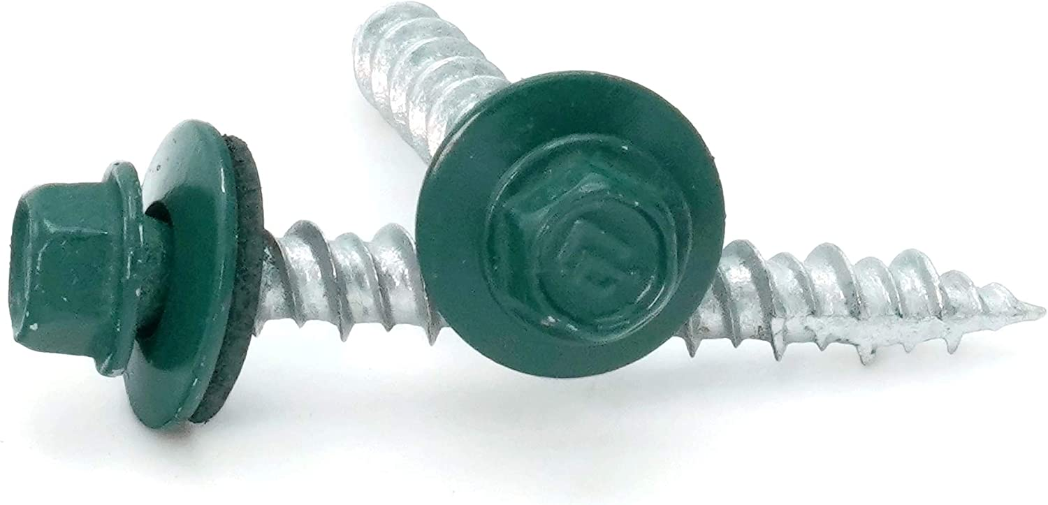 Hex Washer Head Hi-Lo Thread Mechanical Galvanized Roofing Screws Forest Green Finish #10 x 2 Qty 25