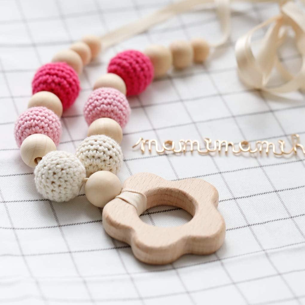 Mamimami Home Charms Dellinfermiera Perle Masticabili Teether in Legno Collana di Dentizione Per Mamma Giocattoli per Neonati al Bambino Montessori