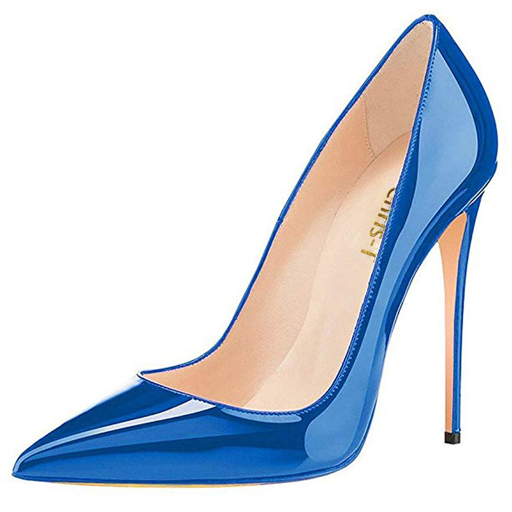 bluee CAITLIN-PAN Womens 12cm High Heels Pointed Toe Slip On Stilettos Leather Party Dress Pumps Size 5-15 US