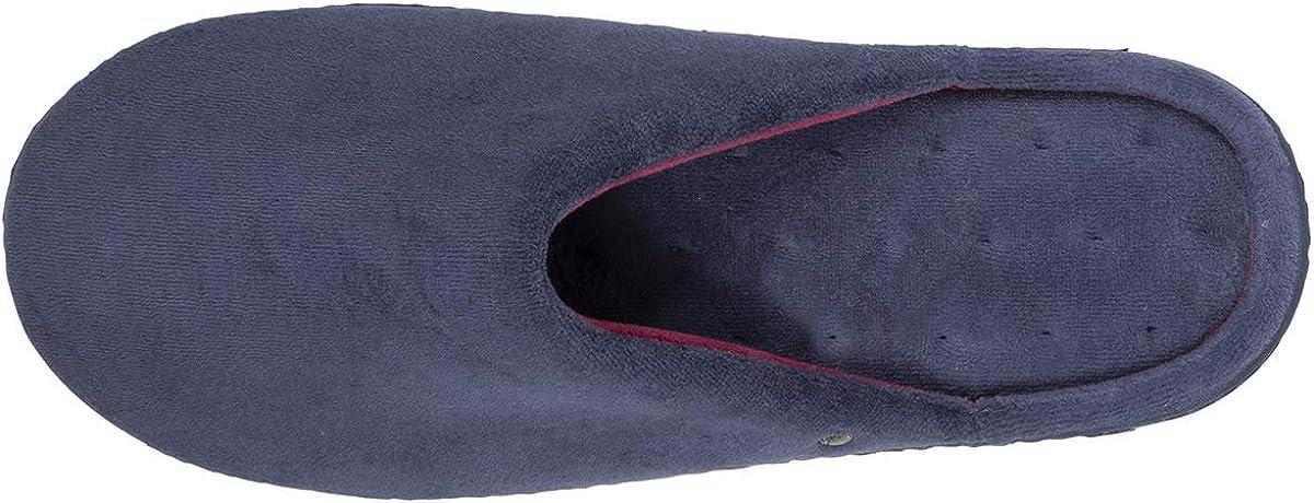 isotoner Chaussons Mules Homme Bleu et Rouge,Bleu,43 EU
