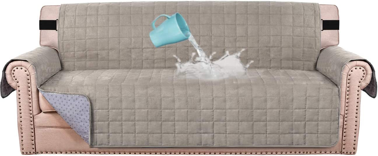 "100% Waterproof Sofa Furniture Cover Suede Couch Covers for Dogs Velvet Sofa Protector Leather Sofa Cover Seat Width 70"" Sofa Slipcovers with 2"" Strap and Non-Slip Backing (Sofa, Taupe)"