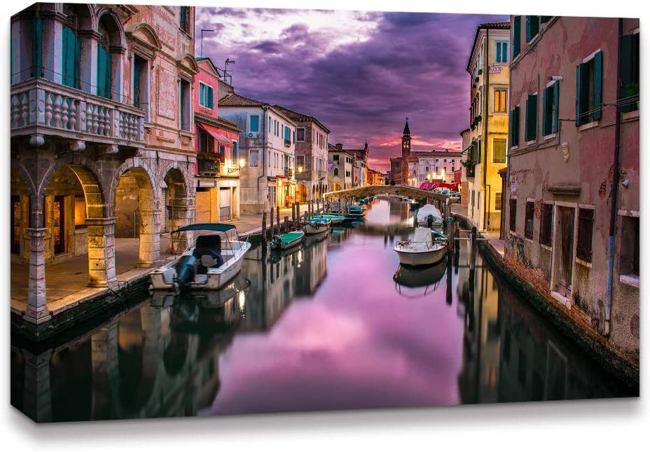 Amazon Com Idea4wall Canvas Wall Art Beautiful Landscape Grand Canal Venice Italy Painting Artwork For Home Prints Framed 32x48 Inches Posters Prints
