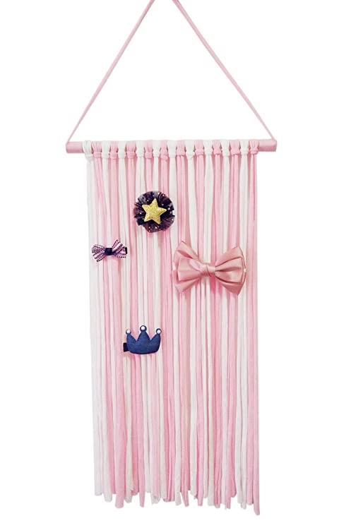 Hixixi Baby Girls Fringe Hair Bows Hair Clips Holder Storage Organizer (pink)