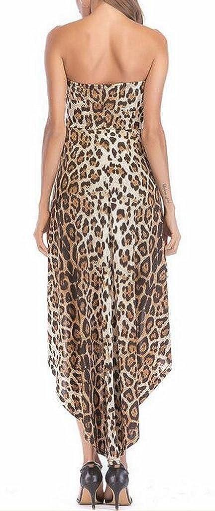 MMCP-Women Jumpsuit Leopard Print Cold Shoulder Cocktail Party Maxi Dress