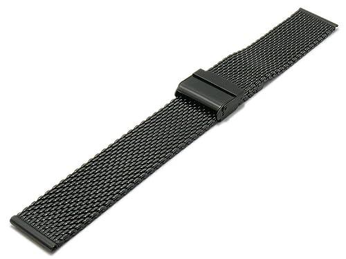Meyhofer Uhrenarmband Vienna 22mm schwarz Milanaise mittelschweres Geflecht Schiebeverschluß MyCrkmb527/22mm/schwarz/Mil