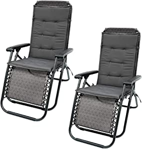 HOTBEST 2Pcs High Back Patio Chair Cushions, Garden Seat Pad Adirondack Chair Cushion Non-Slip Universal Lounger Chair Mat Wicker Chair Pads with Ties for Indoor Outdoor Furniture(47 x 20 Inch) (grey)