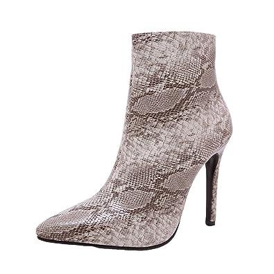 3f2e3b5e47b55 CIELLTE Chaussures Bottines Femme Hiver Boots Chaussures à Talon Serpent  Impression Bout Pointu Bottes de Neige