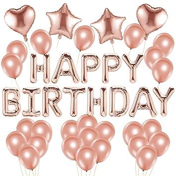 Alohar 37 Piezas Cumpleaños Fiesta Decoración Globos - Látex Globos Perlados Banderines Banderas Happy Birthday Helio Globos Aluminio Oro Rosa Fiesta ...