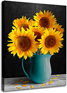 Sunflower Decor in Vase for Bathroom Decor Rustic Kitchen Decor Canvas Wall Art Prints Framed Picture Photo Painting Giclee Artwork Modern Gallery Home Decor Teal Wall Art Yellow Teal