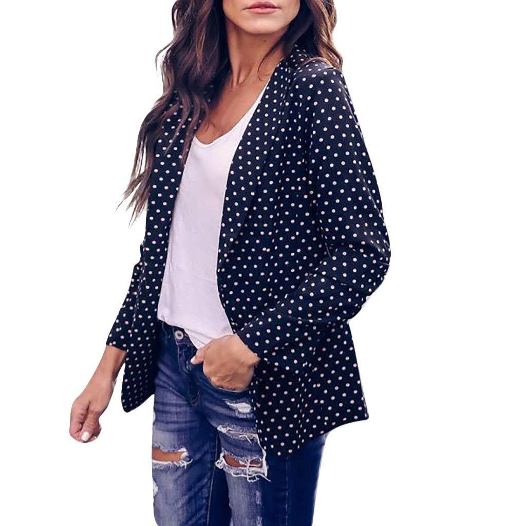 TIREOW Damen Langarm Dot Print Mode Mantel Bluse T-Shirt Tops Coat
