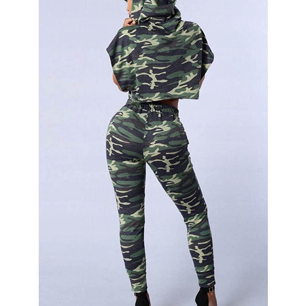 Mesdames 2 Pcs /À Capuchon Surv/êtement Casual T-Shirt Tops Gym Yoga Entra/înement Mid Taille Courir Outfit Sport Porter Costume Hibote Femmes Sports Camouflage Sweatshirt Ensembles