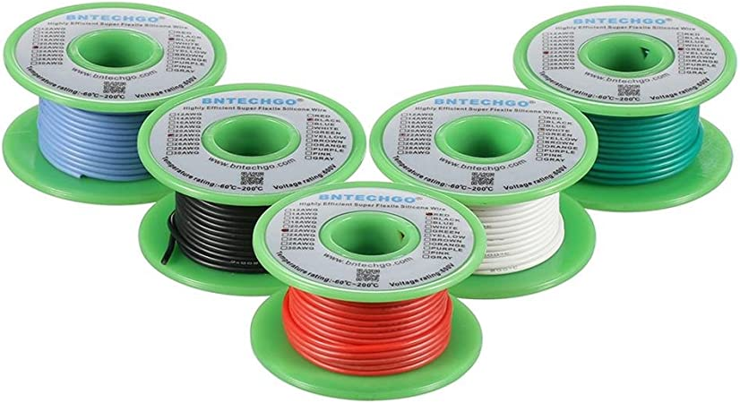 BNTECHGO Ultra Flexible 20 Gauge Silicone Wire Spool 5 Color Red Black Yellow Brown Gray High Resistant 200 deg C 600V Electronic Wire 20 AWG Stranded Wire 100 Strands Tinned Copper Wire Hook Up bntechgo.com