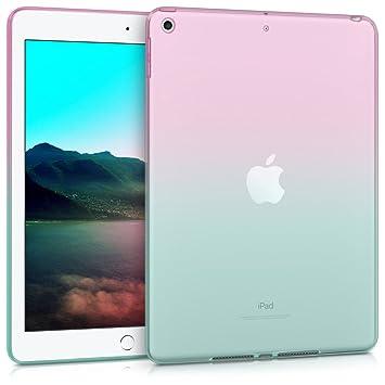 kwmobile Funda para Apple iPad 9.7 (2017/2018) - Carcasa Trasera para Tablet de Silicona TPU - Cover en Rosa Fucsia/Azul/Transparente