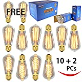 12 Pack (2 Free) - Vintage Thomas Edison Light Bulb - 60W dimmable - Clear Glass - ST64 - industrial vintage style - 7 Squirrel Cage Filament and 5 Spiral Filament - Youngever Home