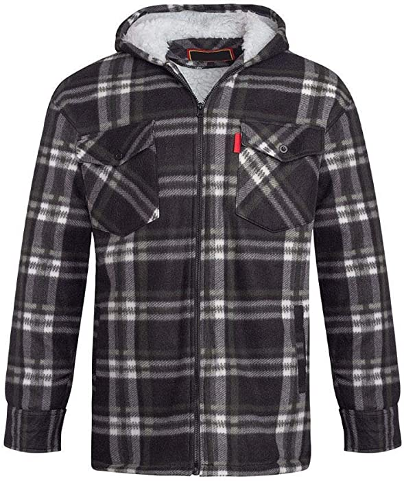 e059f8f749d Unisex Mens Fleece Sherpa Fur Lined Lumberjack Hood Check Quilted Thermal  Shirt  Black White
