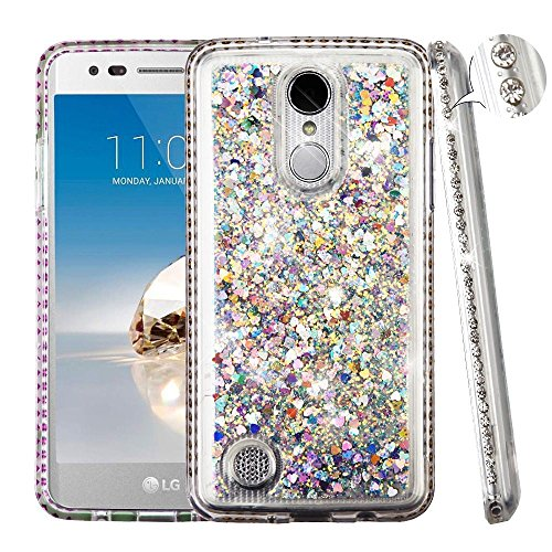 LG Aristo/Fortune/K4 (2017)/K8 (2017)/LV3 Case, Mybat Quicksand Dual Layer Protection Hybrid Rhinestone Diamond Bling Hard Snap-in Case For LG Aristo/Fortune/K4 (2017)/K8 (2017)/LV3/Phoenix 3, Silver
