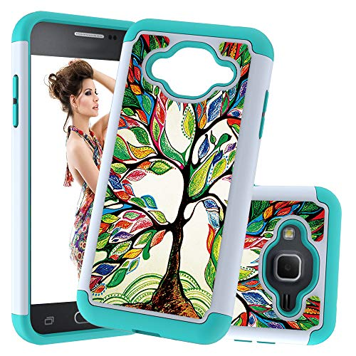 Ranyi Galaxy J3/ J3 2016/ J3 V/Amp Prime/ J3 Sky/Express Prime Case, Luxury Painted Fabric Design Shock Absorbing Premium Hybrid 2 Piece Bumper Resilient Rubber/TPU Protective Case (Color Tree)