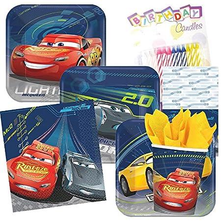 Disney Cars 3 parte sirve 8 platos y servilletas con velas ...
