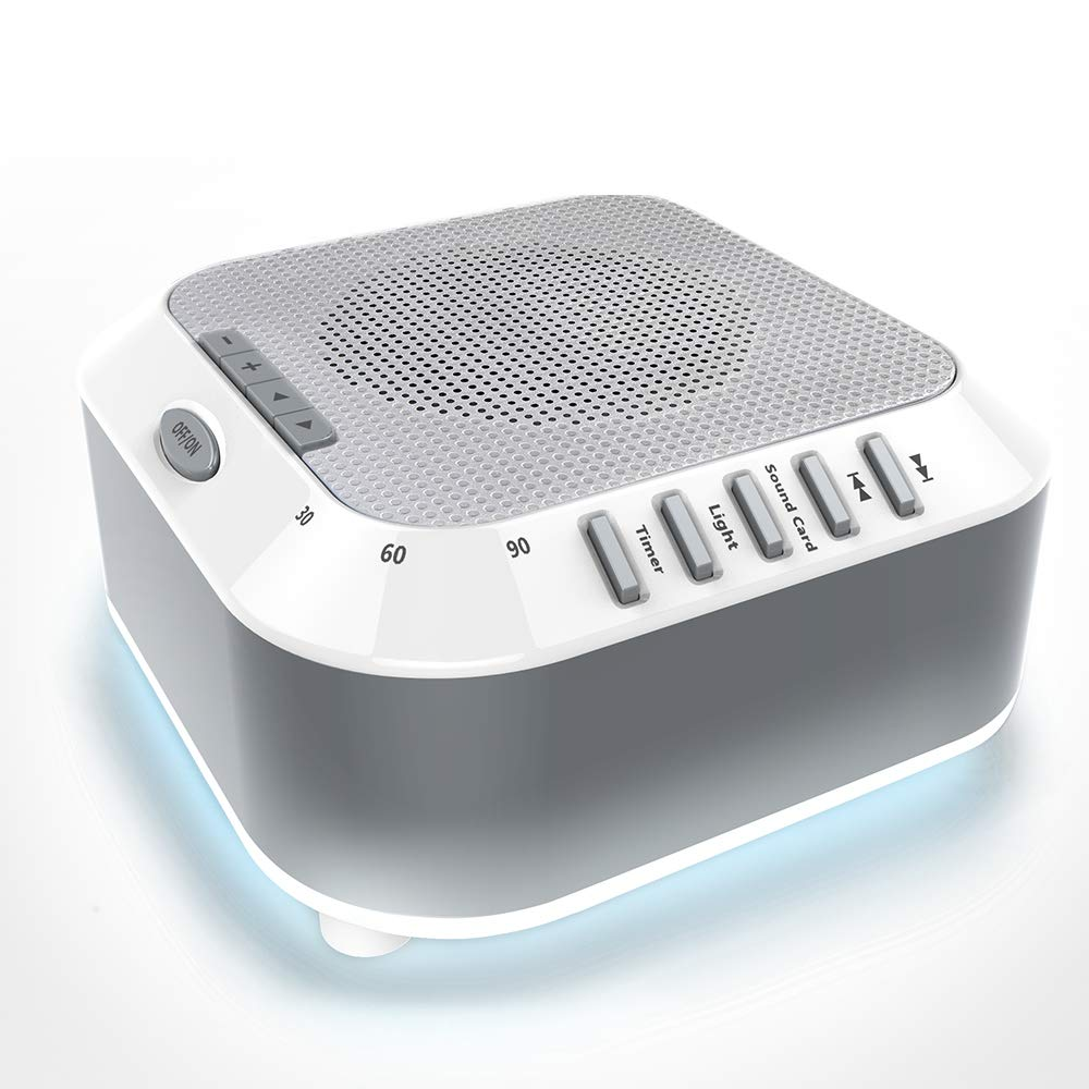 Sound Machine,White Noise Machine- Portable Rechargeable Sleep Therapy w/Night Light for Home, Office, Baby & Travel|5 Relaxing Nature Sounds, Auto-Off Timer |TF Card Slot (White Noise Machine)