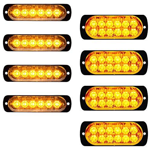 (8pcs (4x6-LED+4x12-LED) Amber Ultra Thin Super Bright Emergency Warning Hazard Construction Flash Strobe)