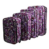 Dumont Paisley 4-Piece Expandable Lightweight Rolling Luggage, Purple Review
