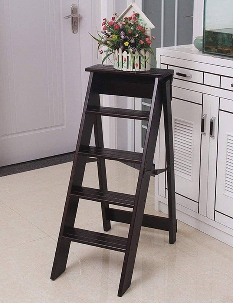 LY-Escalera madera maciza flor plegable paso heces soportar cocina portátil plegable taburete alto pie del pedal escaleras plegables silla de la escala de 120 kg de carga (Color : Deep Walnut Color):