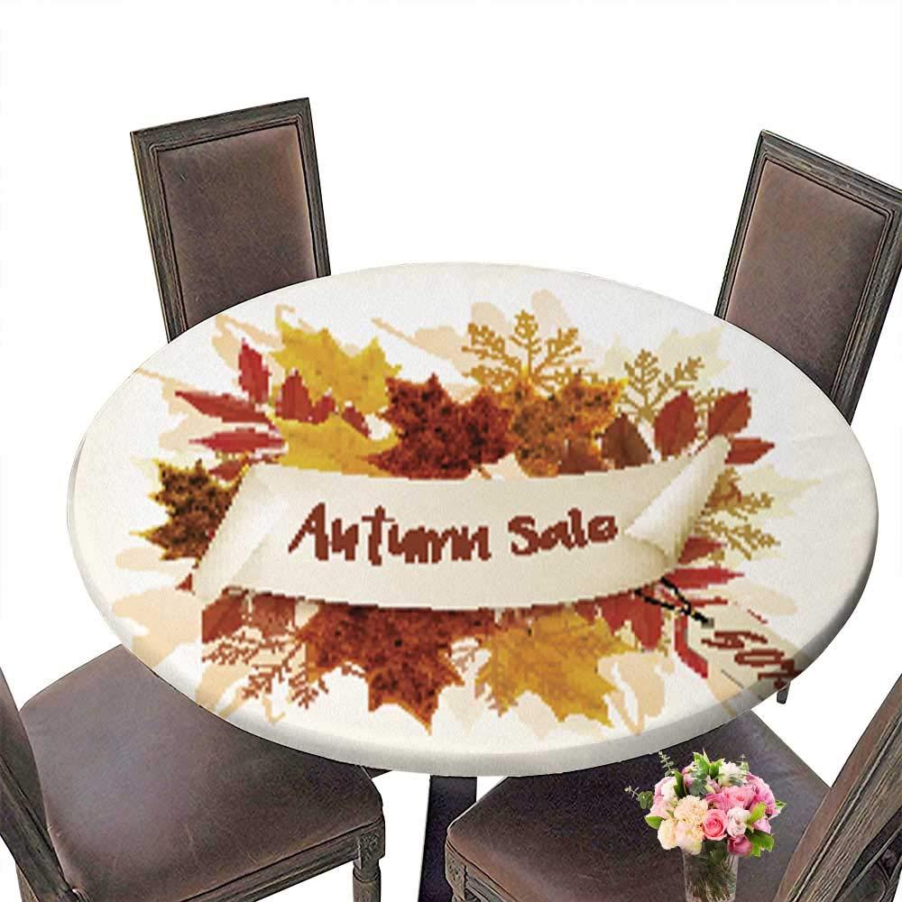 ポリエステル製円形テーブルクロス フィットタイプ 秋用 洗濯可能 テーブルクロス 67.5