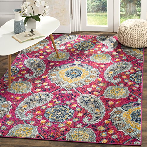 Safavieh Madison Collection MAD600A Fuchsia and Gold Bohemian Chic Paisley Area Rug (5'1