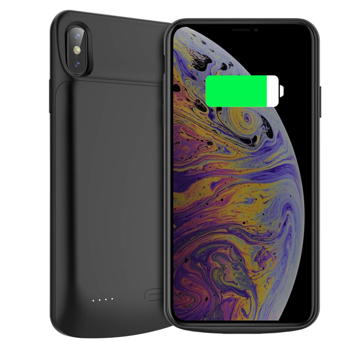 Happon Funda Bateria iPhone XS MAX, 6000mAh Batería Cargador Externa Ultra Carcasa Batería Recargable Power Bank Portatil para iPhone XS MAX - Negro