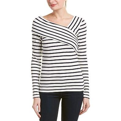 Jaminy Damen Langarm Shirt Streifen Sweatshirt Tunika Bluse Top Oberteile  Tops T-Shirt S-3XL  Amazon.de  Schuhe   Handtaschen a3b43de29c