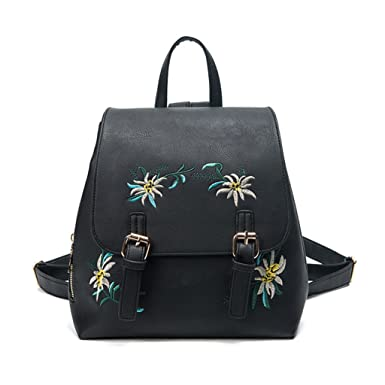 Butterfly Iron Flower Embroidered Women Leather Backpack School Travel Shoulder Bag