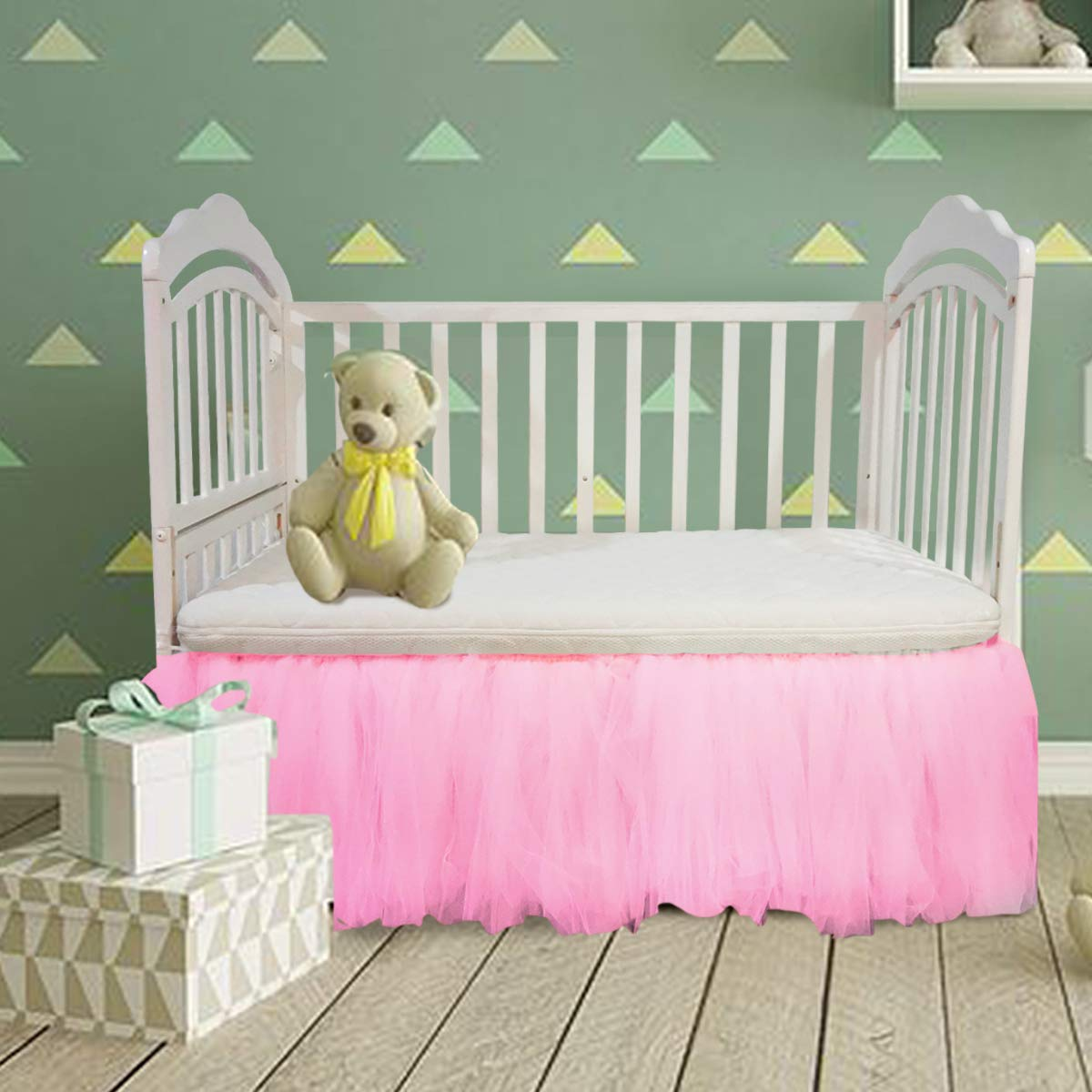Pink Crib Skirt Baby Ruffle Baby Bed Skirt Portable Tulle Tutu Crib Skirt Handmade for Boys or Girls Birthday Party,Baby Shower &Baby Room Decoration,16''Drop,One Side