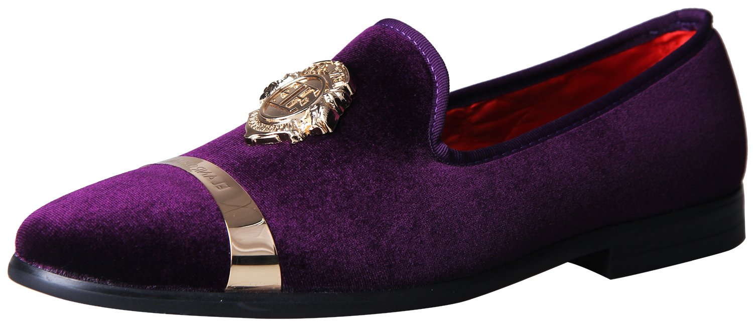 ELANROMAN Men's Loafers Velvet Shoes with Gold Buckle Plate Slip On Penny Dress Loafers Shoes for Men Purple US 8 EUR 41 Feet Lenght 280mm