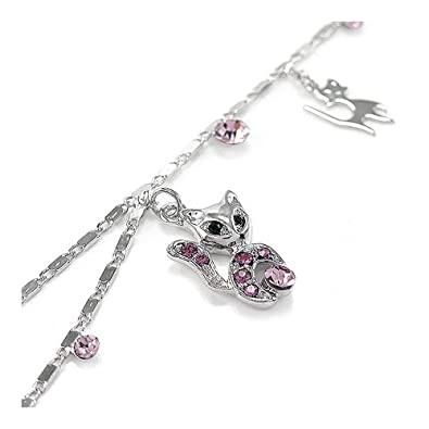 Glamorousky Cutie Cat Anklet with Purple Austrian Element Crystals (1815) GsWgyY5ht