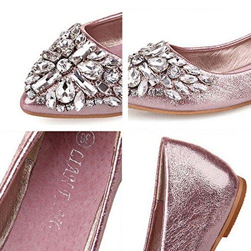 Loafer Slip Flat Leather Jiyaru On Pu Pink Casual Women Shoes qHx0Zw