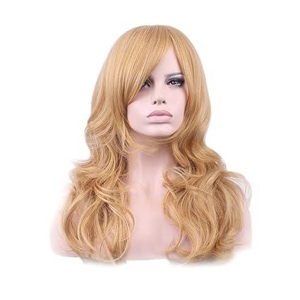 Mengonee Mujeres Niñas mixta peluca rubia rizada larga de alta temperatura de la fibra sintética de